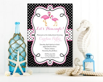 Flamingos Invitation | Baby Shower | Printable Editable Digital PDF File | Instant Download | BSI344DIY