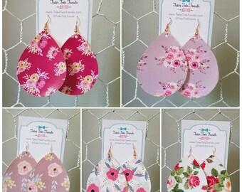 Teardrop Swing Earrings - Farmhouse Florals Vegan Leather