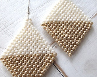 Earrings, beige and old gold