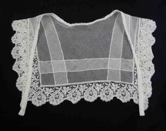 Antique Collar - Victorian Lace and Netting Collar - Ivory Cotton