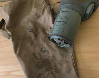 Vintage Noncombant Child's Gas Mask w/ Haversack Bag, M1A2-1-4