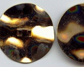 6 VINTAGE GOLD HAMMERED 45mm. round clip findings w280