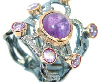 Amethyst Sterling Silver Ring - weight 14.60g - Size 8 1 4 - dim 1 inch wide - code 30-sie-16-55