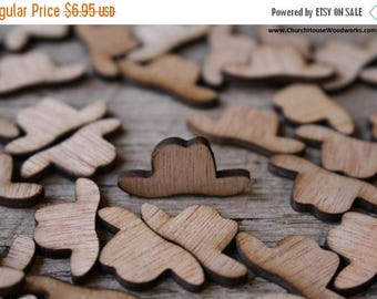 Summer SALE 100 Wood Cowboy Hats 3/4 inch tall, Little Wooden Confetti Engraved Hats - Rustic Wedding Decor- Table Decorations- Small