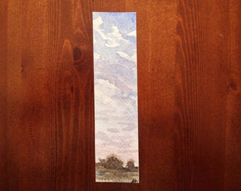Sunset Watercolour Bookmark, Landscape Painting, Original abstract art
