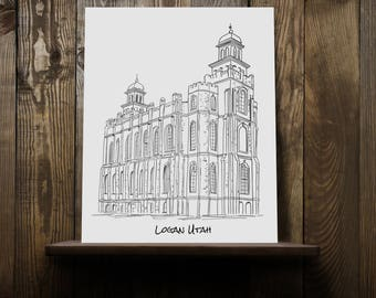 Logan Utah LDS Temple Hand Sketched Hand Drawn Print Custom Personalized Wall Art Wedding Mission Housewarming