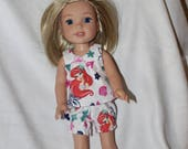 Mermaid Print Pajama's, Top and Bloomers  Handmade to fit the wellie wisher and Heart to Heart doll Free Shipping