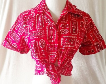Vintage Bandana Red Cowgirl Button Up Shirt. Small