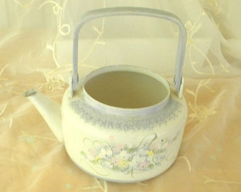 Summer Sale Vintage Tole Painted Tea Kettle, Use as Watering Can for Indoor Gardening, Blue and White Flowers, Shabby Chic, Chippy