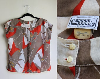 Outrageous Abstract Lily Print Blouse ||| 1970s ||| Size Small