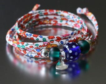 Liberty and lampwork bead charm wrap