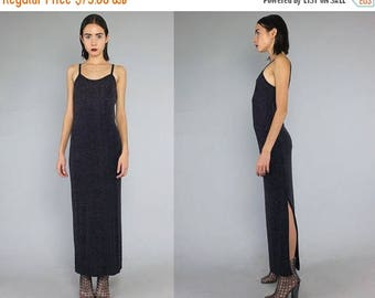 40OFF Vtg 90s Black Iridescent Glam Glitter Maxi Dress S/M