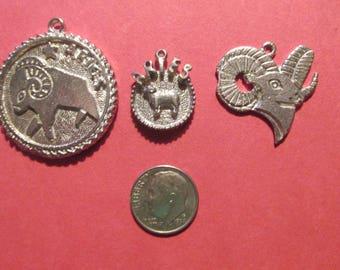 Three Pewter Aries Zodiac Pendants