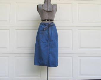 1970s denim wrap skirt with denim ribbon belt, M-L