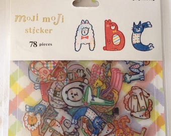 "SALE  Moji Moji Die Cut Stickers ""Animal Alphabet"" for scrapbooking, decorating, Paper crafts. 78pieces"