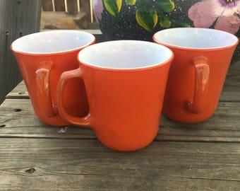 Pyrex Burnt Orange Mug Set of 3