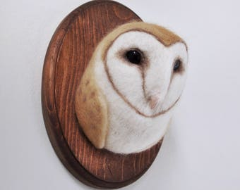 Felted Barn Owl - Faux Taxidermy - Needle Felted Wall Mount