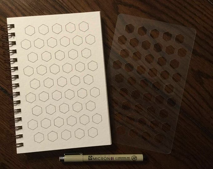 """Honeycomb Fragments (Patterns) Chart Stencil ~ 5"""" x 8"""" for Journals and Drawing"""