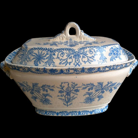 Antique Blue and White Large Tureen and Ladle, T & R Boote Lahore, Blue Transferware, 1800s, China Dishes