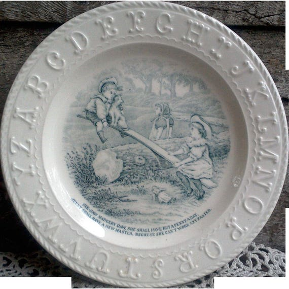 Antique 1850 See-Saw ABC Plate ~ Childs Transferware Plate