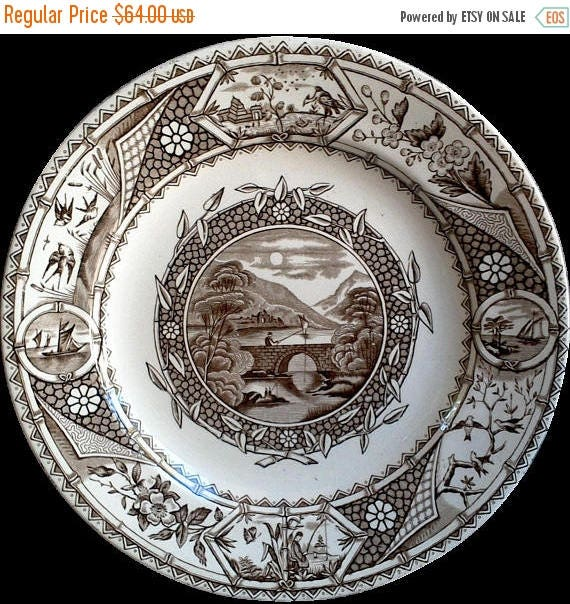 Antique Aesthetic Movement G W TURNER and Sons Phileau Plate Brown Transferware Plates 1800's Tunstall English Transferware