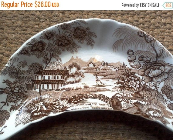 50% off Brown Bone Dish, Brown Transferware, Brown Crescent Plate, Royal Crownford, Tonquin, England Transferware