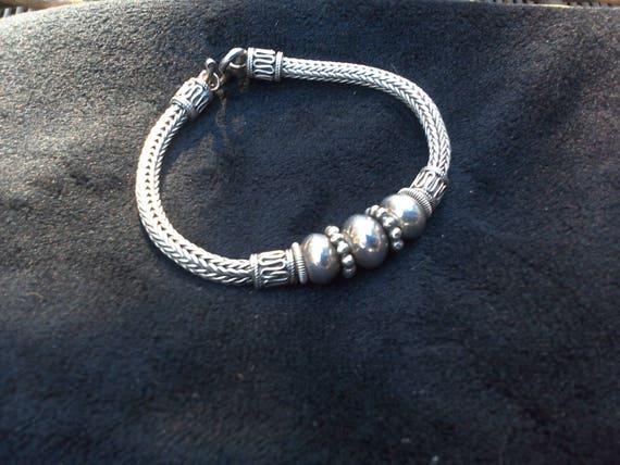 Sterling silver 925 rope beaded bracelet ladies bracelet girls bracelet holiday gift christmas gift silver gift jewelry gift for her