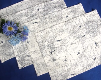 Placemats - Airplane World Map Table Cloth - White with blue airplanes and countries - Set of 4