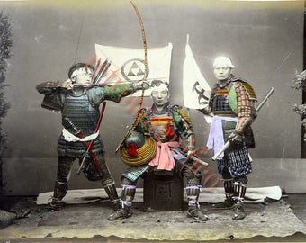 Five Japanese colorized images from 1880's digital download images for printing, collage, mixed media, altered art,