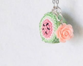 Watermelon Dreams Crochet Necklace