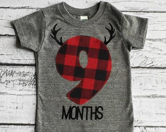 9 Months/ Buffalo Plaid/ Shirt/Antlers /READY TO SHIP