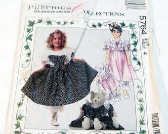 """ON SALE Girls Childrens Special Occasion Easter Sunday dress, bloomers, Bear doll and clothes sewing pattern McCalls 5764 Size 4 Chest 23"""" U"""