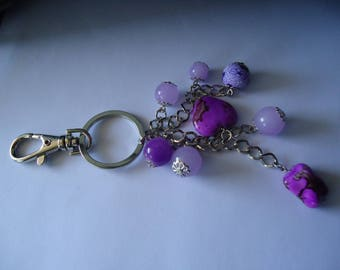 Keychain made of silver and purple bag