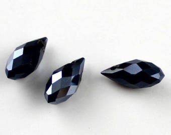 Drop Pearl black faceted 6 * 12 mm