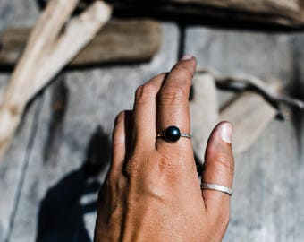 Hammered Hematite Sterling Silver Ring