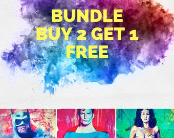 "Buy 2 Get 1 Free Justice League Set1 2""x18"" Poster Print Superheroe DC Comic Print Wall Art Colorful Abstract Pop Art"