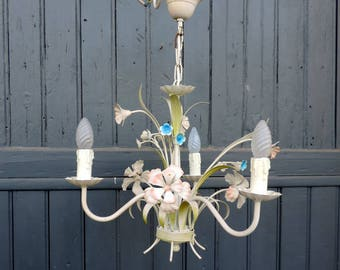 A vintage French tole ware 3 lamp chandelier, ceiling light, pendant light