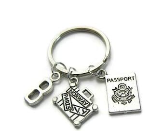 Passport And Suitcase Keychain, Travel Keychain, Traveler Keychain, Keychain For Traveler, Passport Keychain, Suitcase Keychain,Personalized