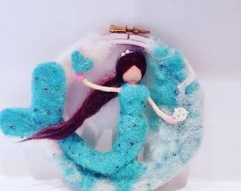 Felted mermaid, needle felted mermaid mobile, mermaid sculpture, mermaid collectible, blue mermaid soft sculpture, mermaid gift, mermaid