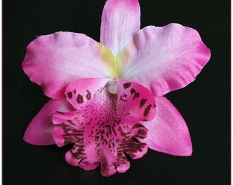Artificial flower orchid pink and white for x 1 hair clip