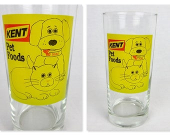 Vintage Kent Pet Foods Advertising Glass / Water Tumbler / Dog and Cat / Kent Feed / Yellow Red