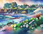 North Point - Watercolor Painting Print by Michael David Sorensen. Depoe Bay, Oregon Coast. Pacific Northwest. Green. Ocean. Flowers.