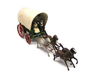 Vintage Lead Toy, Covered Wagon, Britain Ltd., Made in England, Early American Settlers, Farm, Horses, Lead Figurines, Collectible