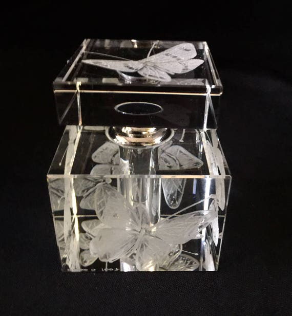 hand engraved butterfly perfume bottle, crystal perfume bottle, engraved crystal, butterflies, vanity decor, home decor, wedding gifts