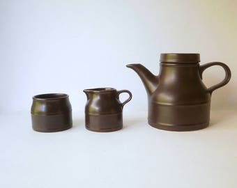 Vintage Tea set. English Tea Pot Staffordshire. Rare Kiln Kraft. Tea Pot or Coffee Pot, Milk Jug, Sugar Bowl, Brown. Retro 1970s