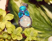Astral Werewolf inspired vessel - Handcrafted Moonstone Blue Topaz pendant necklace
