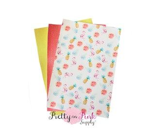 Flamingo/Pineapple Fabric Sheet PACK #1- Glitter Fabric Sheet- vinyl Fabric Material-DIY Hair Bows 1mm Thick