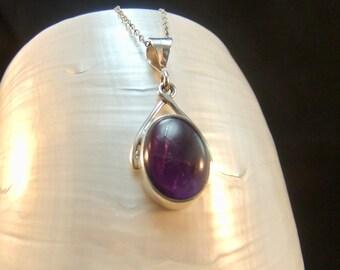 Deep Purple Amethyst  Sterling Silver Necklace