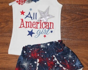 All American Girl Patriotic Outfit Coachella Shorts and Matching Headband