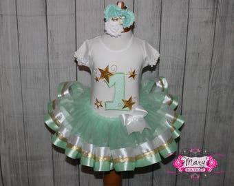 Twinkle Twinkle Little Star Birthday Ribbon Trimmed Tutu, Shirt and Bow Set Mint and Gold